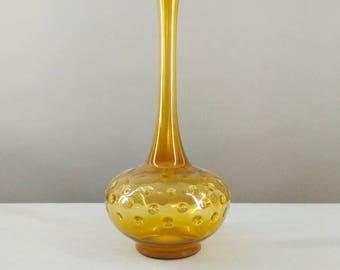 Vintage vase, mouth-blown, Lauscha Glass, Thuringia, DDR, 1970, Alien, Sputnik, Bubbles, unique, amber