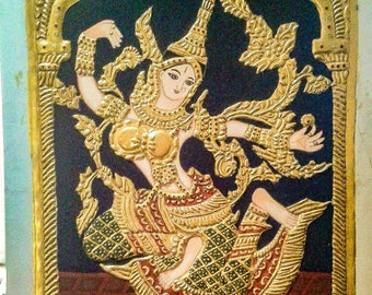 """Thai Sita Tanjore Painting using Gold leaf and Kunjam stones. Unframed. 15 1/2"""" × 19 1/2"""" inches."""