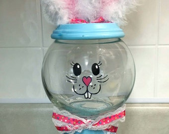 Handpainted embellished glass terra cotta pot Easter Bunny candy dish or cookie jar. Unique and adorable decoration for the kitchen!