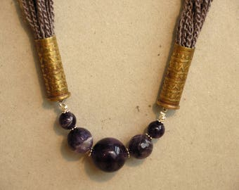 Cotton, amethyst and etched bullets crochet necklace, upcycled bullet jewellery