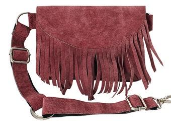 c8e1cc1db35fe9 Suede Fringe Fanny Pack, Suede women's belt bag, Boho Waist Bag, Belt Bag, Hip  Bag, Bordo Suede belt bag, Suede Waist Bag, Modern bag