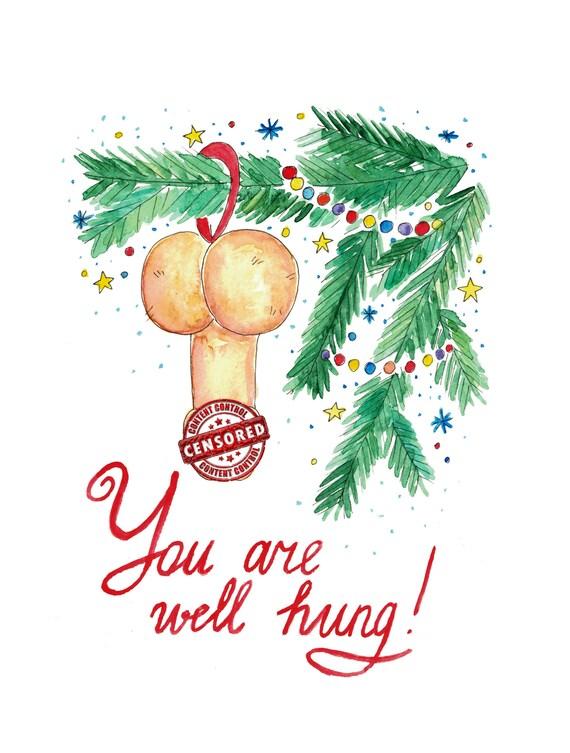Sie sind gut aufgehängt Frohe Weihnachten Penis Karten | Etsy