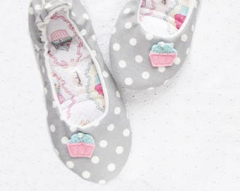 Women Slippers, Cakes , Ballet flats, Cotton slippers, Ballet slippers, Gift women, Gift girl, Healthy Home Shoes, Handmade Slippers,