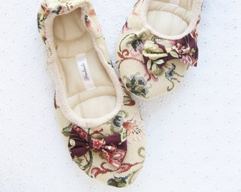 Womens Slippers, tapestry ,Ballet flats, Cotton slippers, Healthy Home Shoes, Soft Slippers, Handmade Slippers, Women Slippers, House shoes,