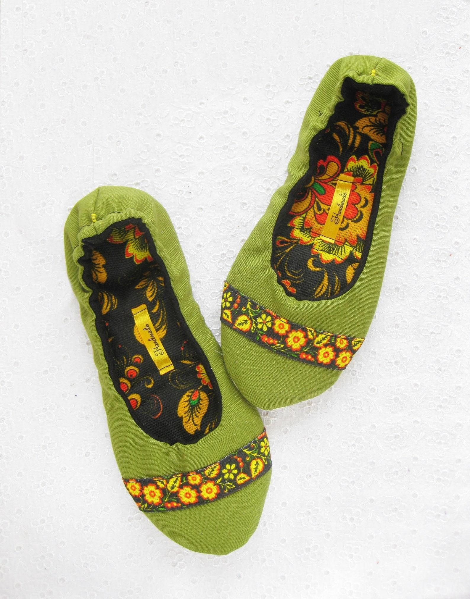 women slippers, russian style, women house shoe, slippers, russian folk craft , ladies slippers, ballet slippers, cotton slipper