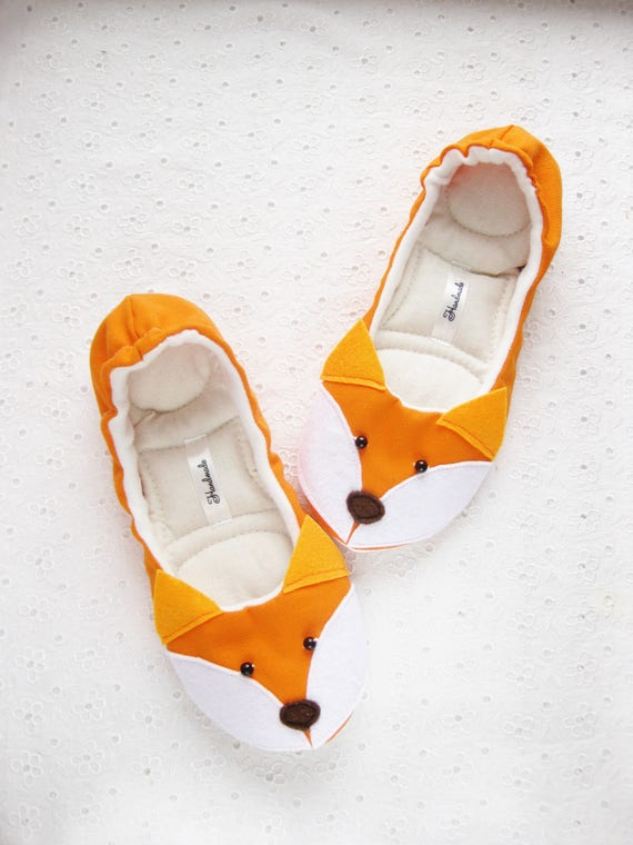 ballet flats fox womens slippers cotton slippers gift for etsy