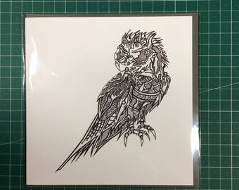 Robot Macaw Greetings Card 150mm x 150mm