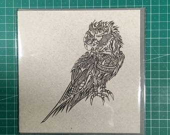 Robot Macaw Greetings Card (Recycled Paper) 150mm x 150mm
