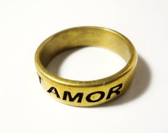 Amor vincit omnia latin quote ring, love conquers all inspirational quote cast brass ring latin phrase affirmation ring love is all you need