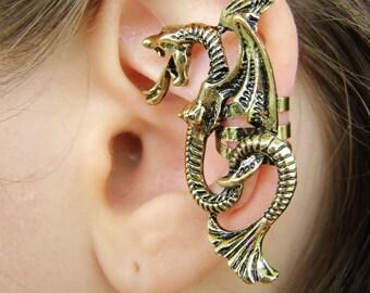 Dragon ear cuff no piercing, full ear cuff non pierced, Fillory cartilage ear climber fantasy jewelry, The Magicians wyvern dragon jewelry