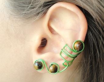 Simple ear cuff non pierced, full ear cuff no piercing, tiger eye ear cuff earrings, no pierce earrings earcuff, Green ear cuff set