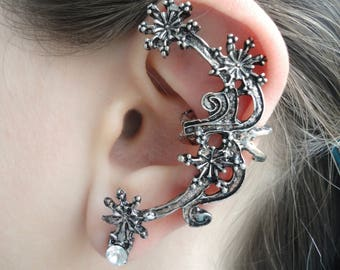 Snowflake ear cuff pierced, Once upon a time snow queen ear cuff piercing ear jacket, snowflake jewelry winter ear cuff, ear clip on earring