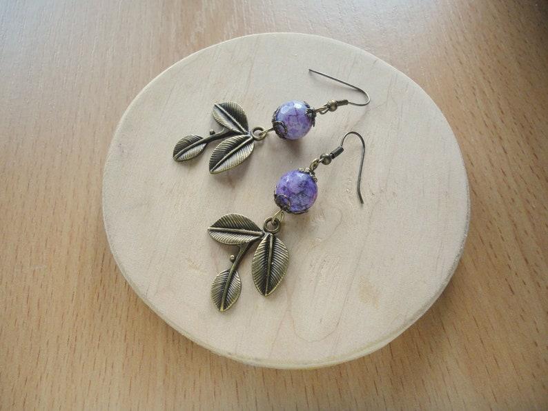 boho chic jewelry leaf earrings Purple earrings best friend gift agate earrings Tinkerbell earrings violet earrings Romantic earrings