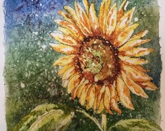 Sunflower Watercolor Batik