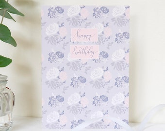 Happy Birthday Card | Floral Birthday Card | Hand Lettering Card | Pretty Birthday Card for Mum | Pretty Cards | Best Friend Card for Her