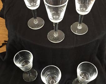 Set of Six Clear Crystal Cordial Glasses
