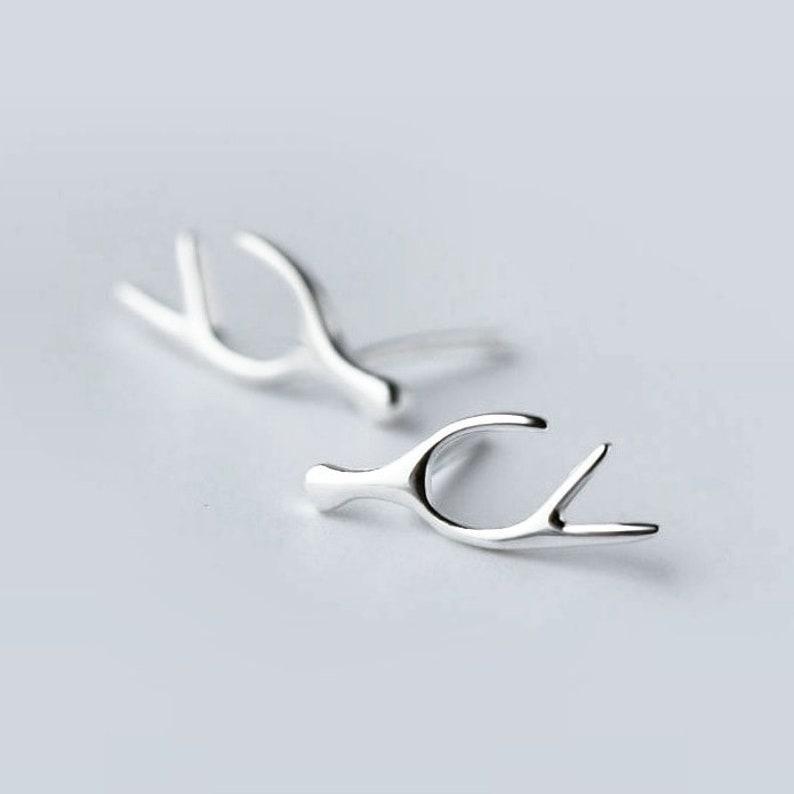 Antler Stud Earrings,Sterling Silver Antler Studs,Dainty Antler Sterling Silver Earrings,Minimalist Earrings Packed in a Teabag Gift Ready