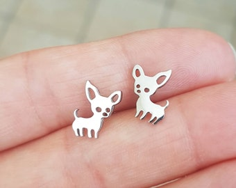 Chihuaha Studs,Dog Lover Studs,Silver Tiny Chihuaha Earrings,Chihuaha Dog Dainty Earrings,Cute Dog Earrings,Animal Lover,Dog Studs,Promo