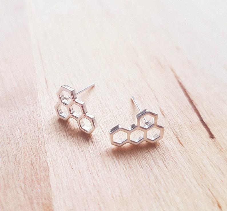 Geometric Studs Small Gold Earrings Minimalist Gold Earrings Gold Tiny Studs Gold Tiny Honeycomb Stud Earrings Packed in a Teabag