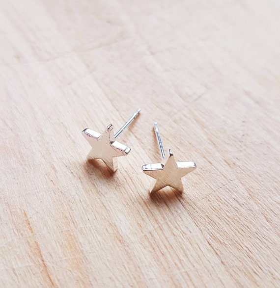 Gold Plated Dainty Stars Tiny Stars Earrings Packed in a Teabag Studs Minimalist Earrings Stars Tiny Studs Bridesmaid Gift