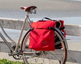 Double cycle pannier, rear pannier waterproof in red
