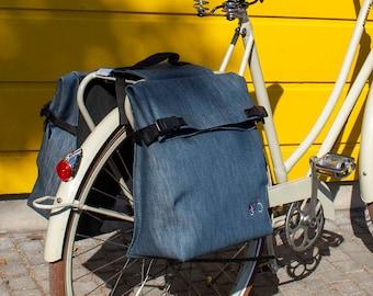 Double cycle pannier, rear pannier waterproof in Denim