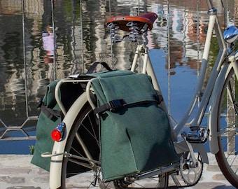 Double cycle pannier, rear pannier waterproof in khaki