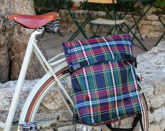 Unisex Backpack for cylists and waterproof rear bikebag in Blue/Green Tartan