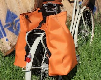 Double cycle pannier, rear pannier waterproof in ORANGE RUST