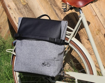 Unisex Backpack for cyclists and waterproof rear bikebag in Herringbone fabrics coated with PVC