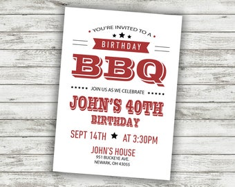 BBQ Birthday Party Invitation Invite Card Cookout Adult Invitations Grill