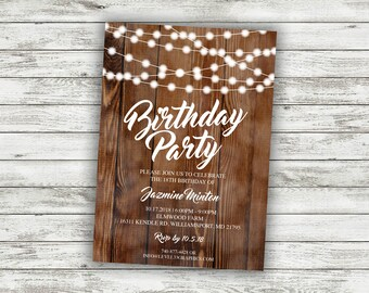 Rustic Birthday Party Invitation Invite Card Country Adult Invitations 50th