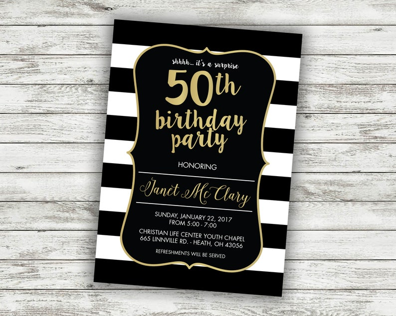 50th Birthday Party Invitation Invite Card Turning 50