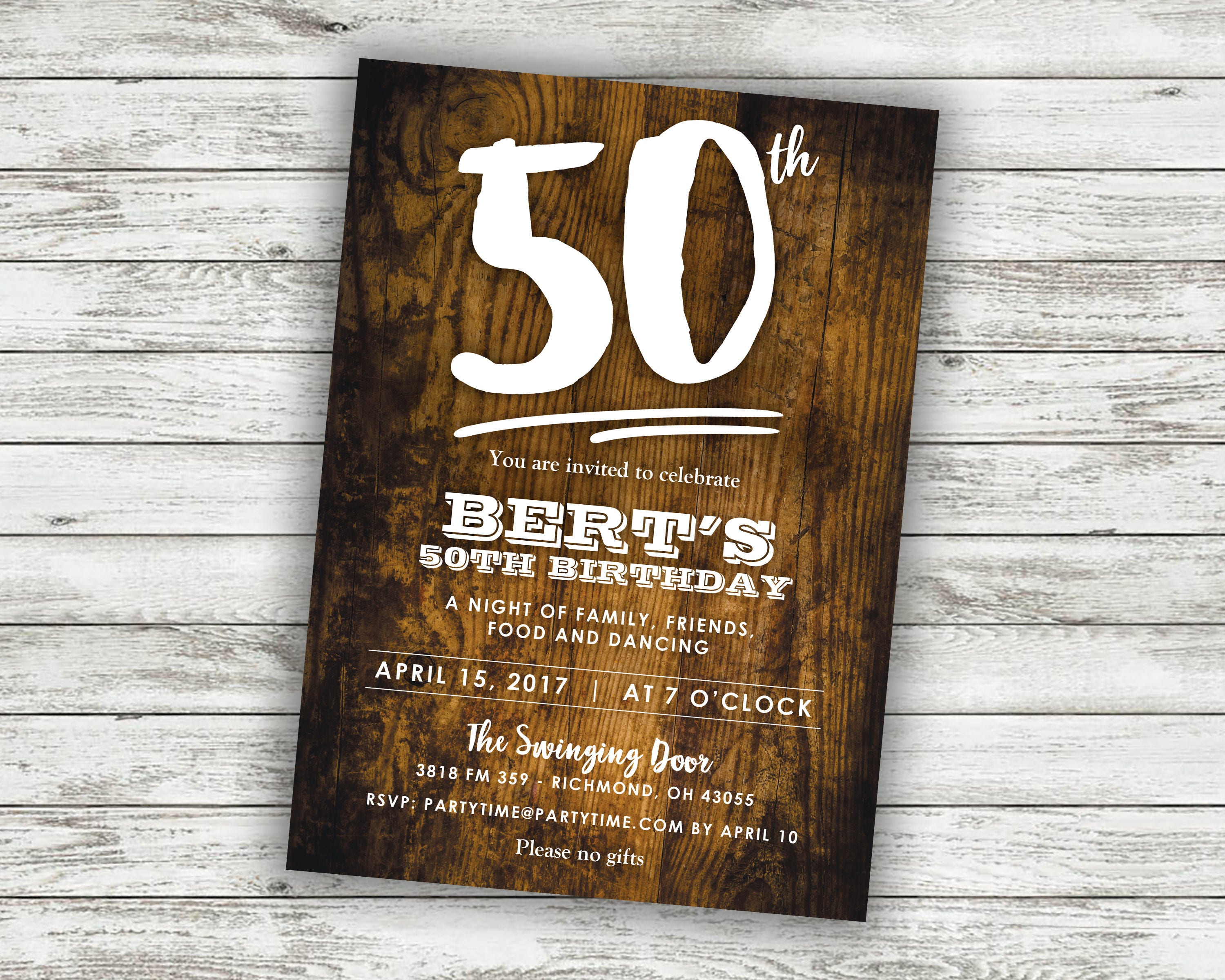 50th Birthday Party Invitation Invite Card Turning 50 Adult Invitations Over The Hill