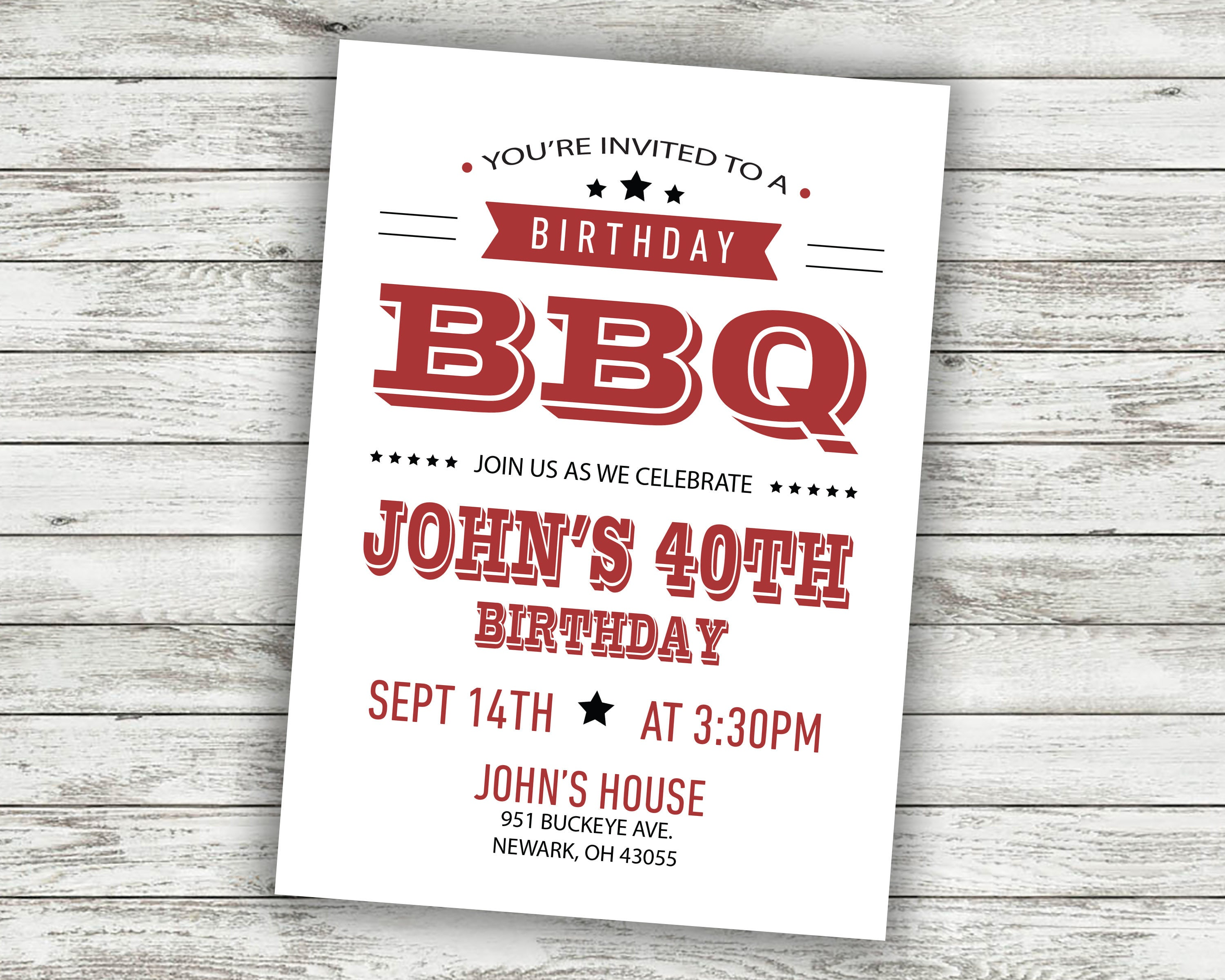 BBQ Birthday Party Invitation BBQ Invite Card Cookout | Etsy