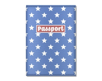 Eco Leather Passport Cover, Stars On Blue