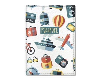 Eco Leather Passport Cover, Tourist Pattern