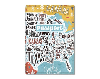Eco Leather Passport Cover, USA Map