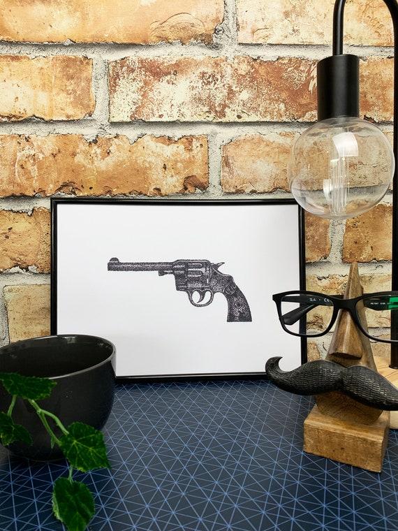 Revolver Gun Print