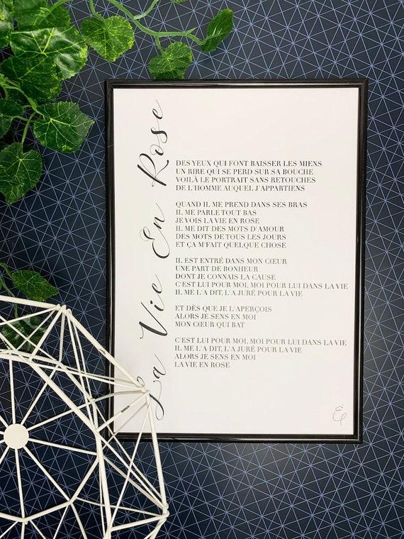 A Star Is Born La Vie En Rose Lyrics Print