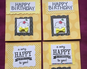 Happy Birthday Handmade Four card set