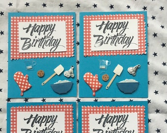 Happy Birthday handmade greeting cards four pack
