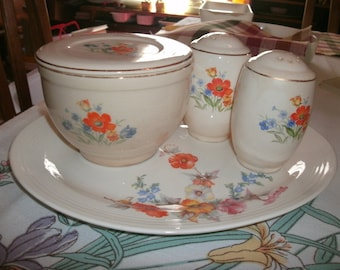Vintage Grease bowl with matching salt and pepper shakers