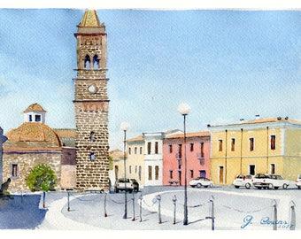 Milis, a small town in Sardinia. Original watercolor.