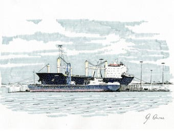 A boat at the port of Oristano. Life drawing.