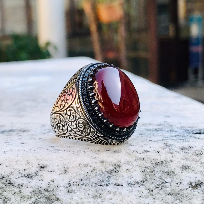 Men ring agate gemstone filigree 925 sterling silver unique Turkish artisan jewelry
