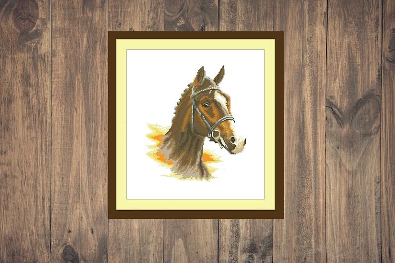 Horse decor embroidery pdf pattern Horse lover Farmhouse decor cross stitch pattern pdf Brown horse cross stitch pattern pdf