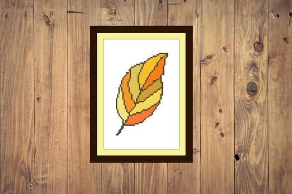Autumn Leaf Cross Stitch Pattern Pdf Embroidery Autumn Leaves Cross Stitch Fall Pattern Download Pdf Wall Decor Instant Pattern Digital File