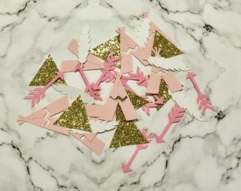 Gold Arrow Confetti Boho Party confetti Boho  Baby Rompers Baby Shower Confetti Wild One Party Gold Arrow and Feather Confetti
