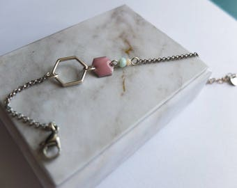 Powder Pink Hexagon Bracelet (BrA01)